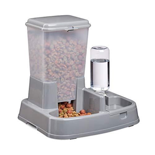 Relaxdays 2in1 Futter- & Wasserspender, Duo Futterautomat für Hunde & Katzen, Flasche, 4 Liter, Kunststoff, dunkelgrau