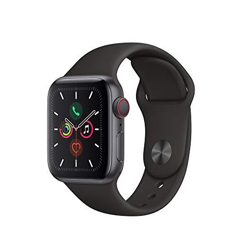 Apple Watch Series 5(GPS + Cellularモデル)- 44mmスペースグレイアルミニウムケースとブラックスポーツバ...