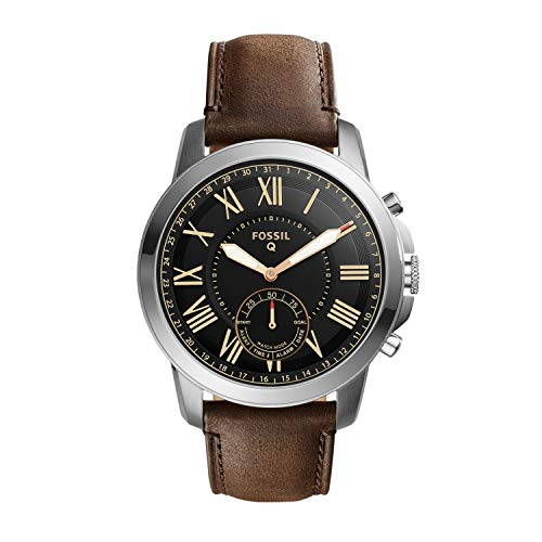 Fossil Q Grant - Hybrid Smartwatch mit dunkelbraunem Lederarmband für Men-FTW1156