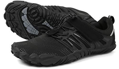 WHITIN Herren Damen Traillaufschuhe Minimalistische Barfußschuhe 5 Five Finger Zehenschuhe Fivefinger Trail Laufschuhe Fitnessschuhe Fitness Barfussschuhe für Männer Strand Trainer Schwarz Größe 45