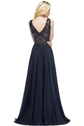 MisShow Elegant Abendkleid Tüll Applique Abi Ballkleid Rückenfrei lang Navy 34