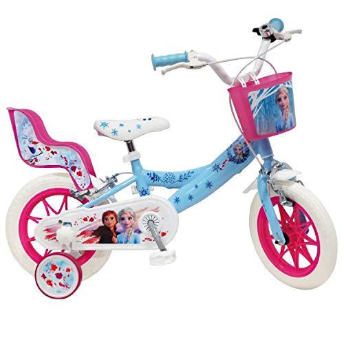 Mondo Toys - Bici Mod. FROZEN II DELUXE per bambino / bambina - misura 12 - rotelle e freno anteriore / posteriore - colore azzurro / rosa - 25281