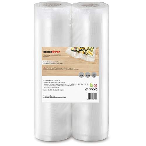 Bonsenkitchen Sacchetti per Sottovuoto, 2 rotoli 28 x 600 cm (totale 12 m) Sacchi commerciali per conservazione alimenti e cottura Sous Vide, VB3814