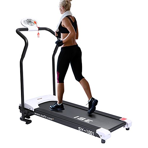 ISE Mini Folding Electric Treadmill, Motorized 10 km/h, DC 750W Motor, Silent, Driving System, Running Surface 102x32 cm, Space Saving, Ideal for Home/ Office, SY-1001