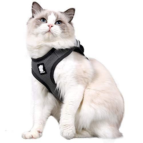 Dotoner Juego de arnés y Correa para Gato Ultraligero Suave y cómodo Chaqueta para Caminar para Gatos Acolchada a Prueba de Escapes Apto para Cachorros Conejo(silv,XS)