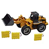 Blomiky 1:18 Scale 520 13.7' Alloy 2.4G 6 CH RC Tractor Full Functional Front Loader Remote Control Bulldozer Truck Toy Gift for Boy Kids 1520