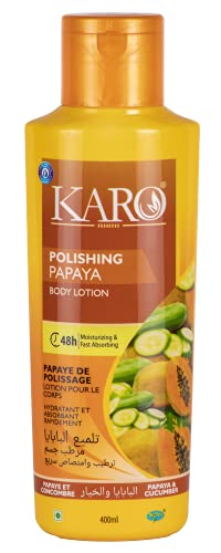 Karo Polishing Papaya Body Lotion 400ml fast absorbing, Make Skin Fair and Moisturises dry Skin for 48h All Whether and All Skin Type