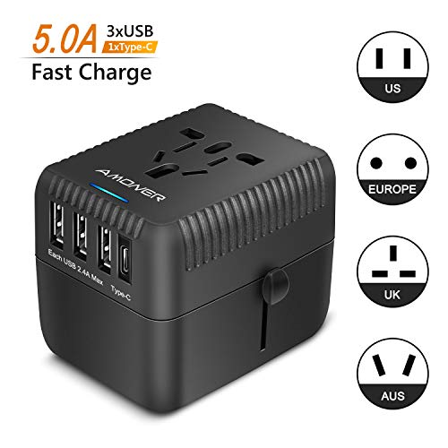 Amoner Reiseadapter Steckdosenadapter Universal Adapter Travel Plug Stromadapter Weltweit Reisestecker,3 USB+1 Typ C,5A für die USA Europa UK AU Thailand China usw.