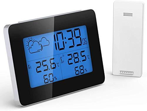 GlobaLink Wetterstation Funk mit Außensensor digital Thermometer Hygrometer Feuchtigkeit mit Wecker/Uhrzeitanzeige/Wettervorhersage Innen und außen mit Hintergrundbeleuchtung Sensor- 60M Reichweite