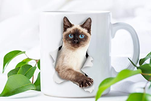Funny Siamese Cat Coffee Mug - Ceramic Funny Coffee Mug - Perfect Cat Lover Gift - Cute Novelty Coffee Mug Present - Great Birthday or Christmas Surprise for Friend or Coworker, Men and Women (11oz)