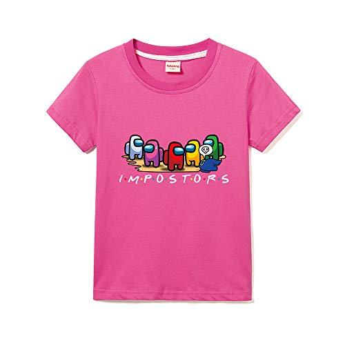 Among Us T-Shirt Bimbo Girocollo Tinta Unita Stampa Bambina Maniche Corte (Rose Red,9-10 Anni)