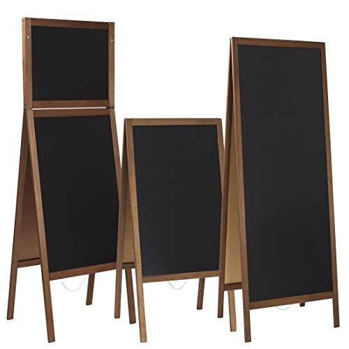 Kundenstopper/Aufsteller Kreidetafel (160 x 72 cm) beidseitig aus Holz Tafel Werbetafel Holztafel Werbeaufsteller