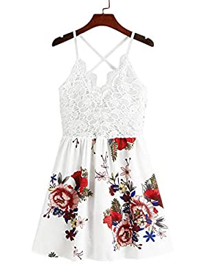 Light weight,durable and breathable material.Ideal for summer weather but heavy enough to where you don't worry about it flying up or getting stuck somewhere. Flower printed, knot back, guipure lace, spaghetti strap, criss cross, sleeveless, V neck, ...