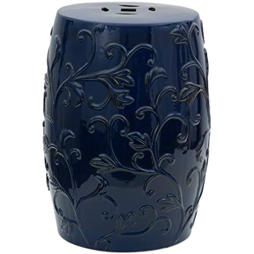 "Oriental Furniture 18"" Dark Blue Carved Flowers Porcelain Garden Stool"