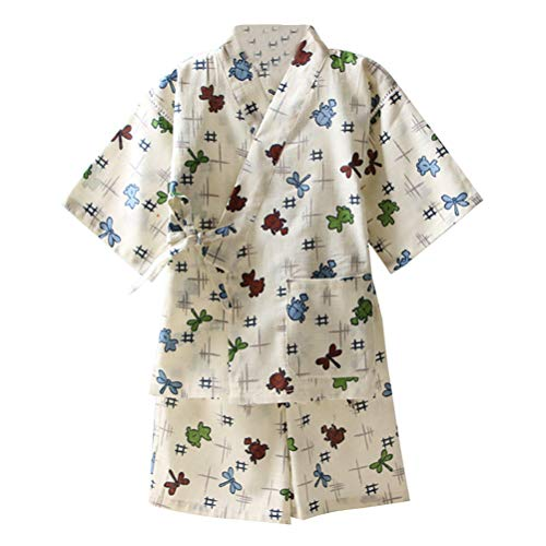 Roupa de dormir quimono casual japonês branca amosfun tradicional fácil de usar algodão e linho yukata para crianças, branco, 100cm
