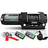 STEGODON 3500 lb. Load Capacity Electric Winch,12V Synthetic Rope Winch with Wireless Handheld Remote and Wired Handle,Waterproof IP67 Electric Winch with Hawse Fairlead(All Black)