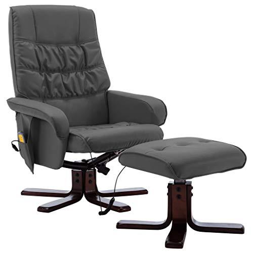 vidaXL Poltrona Massaggiante Reclinabile e Poggiapiedi Poltroncina per Massaggi Divano Singolo Massaggiatore Sedia Arredamento Grigia Similpelle