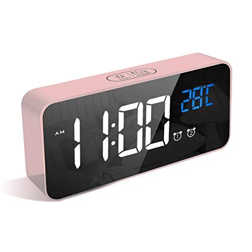 LATEC Digitaler Wecker mit Große LED Temperaturanzeige, Tischuhr mit 13 Musik, USB Ladeanschluss, 4 Helligkeit und Lautstärke Regelbar, Snooze, tragbarer Spiegelalarm mit 2 Alarmen, 12/24HR (Rosa)