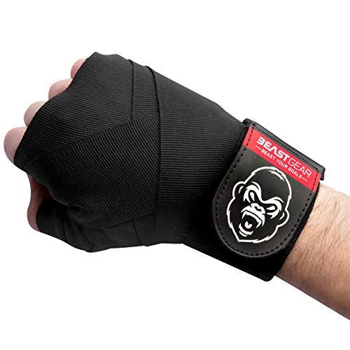 Beast Gear - Vendas Boxeo – Cintas Boxeo de Calidad Superior para Deportes de Combate, MMA, Artes Marciales Muay Thai - Cinta Elástica 4,5 Metros