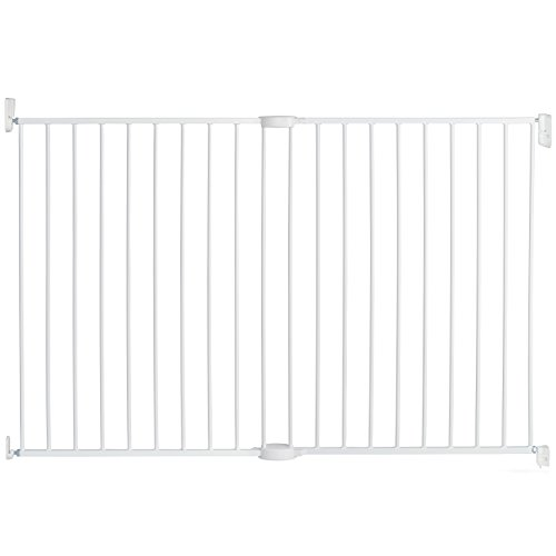 Munchkin Extending XL Tall and Wide Baby Gate, Hardware Mounted Safety Gate for Stairs, Hallways and Doors, Extends 33' - 56' Wide, Metal, White