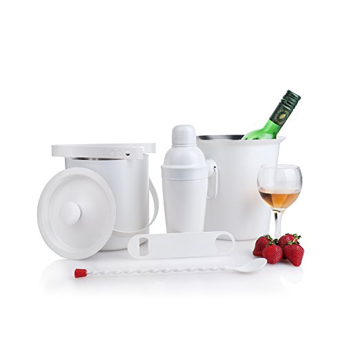Urban Snackers White Powder Coating Bar Set of 6 Pcs (Monalisa Shaker 20 Oz, Ice Bucket Double Wall, Opener, Wine Cooler 20 cm, Tong, Bar Spoon Full Twist),Use for Barware, at Home, Hotel, Restaurant
