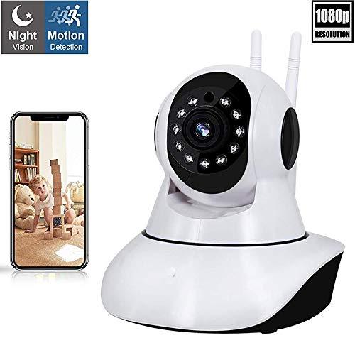 Camaras de seguridad wifi 360 Grados camara de vigilancia inalambrica camara ip HD 1080P wifi monitor de bebe, visión nocturna por infrarrojos, audio bidireccional, detección de movimiento, Control remoto por Android/iOS App