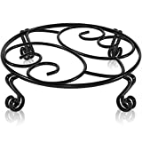 Yimobra Metal Plant Stand for Outdoor Indoor, Black Heavy Duty Flower Pots Holder Rustproof Wrought Iron Planter Stands Garden Round Supports Rack for Planter, 11.8 Inches