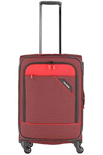 """Travelite Rollkoffer """"Derby"""": klassisch, robuster und leichter Weichgepäck Trolley mit 4 Rollen in 4 Farben Koffer, 66 cm, 69 Liter, Rot"""