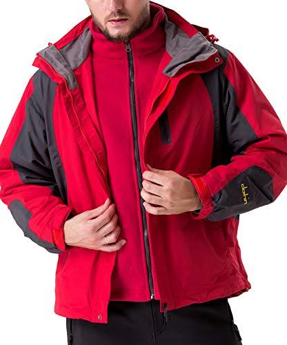 U.mslady極寒スキー 二重構造 ダブルジャケット アイスヒル登山ジャケット 帽子とアウトコート取り外し可能...