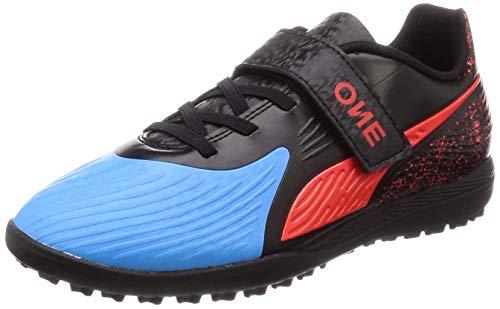 Puma Unisex Kinder ONE   Firm Ground (Harde ondergrond)   Synthetisch materiaal   Kleine rubberen noppen   Voor kunstgras   Kleuren: Zwart/blauw/rood