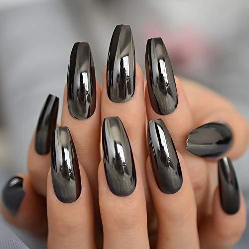 CoolNail Reflective Mirror Punk Design Silver Gray Metal Plating False Acrylic Nail Tips Metallic Ballerina Coffin Fake Nails