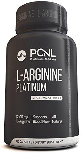 PacificCoast NutriLabs 2100mg L Arginina, fórmula de masa muscular totalmente natural, libro electrónico gratuito, 120 cápsulas