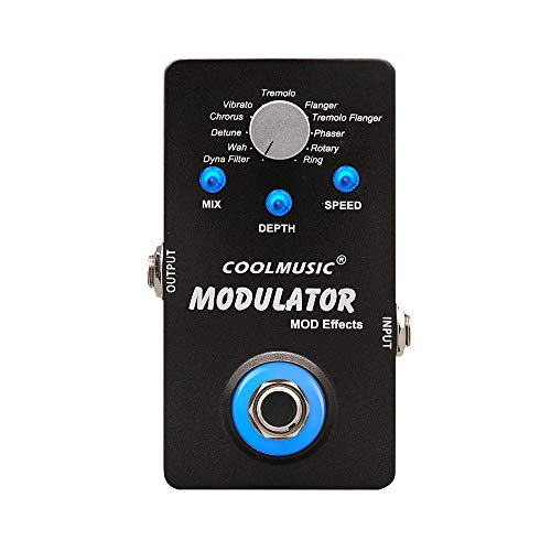 Coolmusic A-ME01 Modulation Multi Effects Pedal with 11 Modes Dyna Filter Wah Chorus Tremolo Flanger Phaser Rotary Ring
