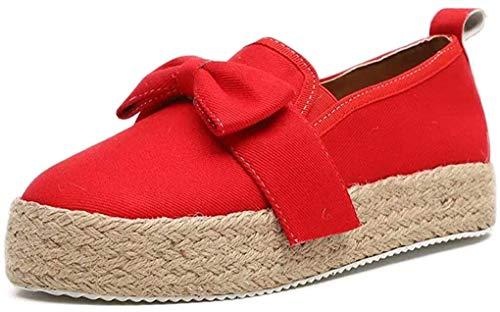 Alpargatas Plataforma para Mujer, Elegante Calzado Zapatos de Caminar con Lona Paja Cómodo Mocasines Tacón Medio 4.8cm Raya Rojo 37
