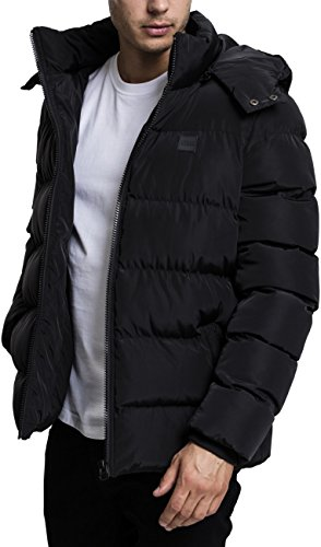 Urban Classics Herren Hooded Puffer Jacket Jacke, Black, L