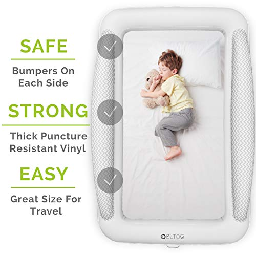 Product Image 2: Eltow Inflatable Toddler Air Mattress Bed With Safety Bumper - Portable, Modern Travel Bed, Cot for Toddlers - Perfect For Travel, Camping - Removable Mattress, High Speed Pump and Travel Bag Included