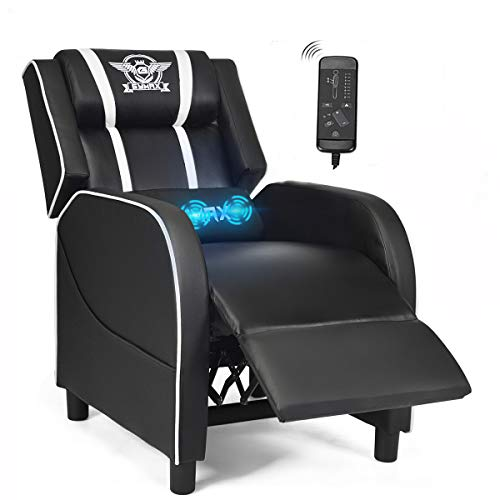POWERSTONE Gaming Recliner Chair, Reclining Gaming Chair Ergonomic Leather Sofa with Footrest Lumbar Support Headrest and Side Pouch for Living Room Home Theater, White