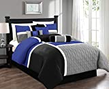 Chezmoi Collection 7-Piece Quilted Patchwork Comforter Set, Gray/Blue/Black, Full