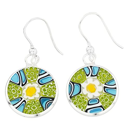 GlassOfVenice Murano Glass Millefiori Round Dangle Earrings - Silver