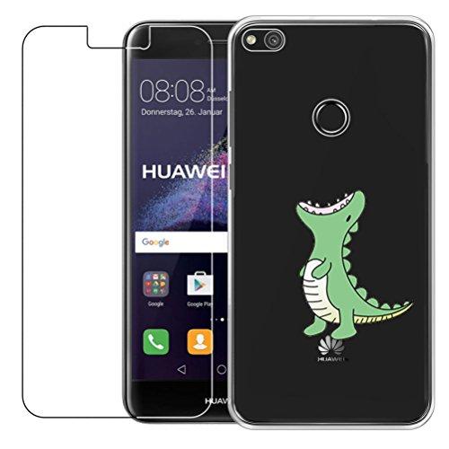 Funda Huawei P8 Lite 2017 [con Protector de Pantalla de Vidrio Temperado] Blossom01 Ultra Fina de Gel de Silicona TPU Carcasa Huawei P8 Lite 2017 (Cocodrilo Verde)