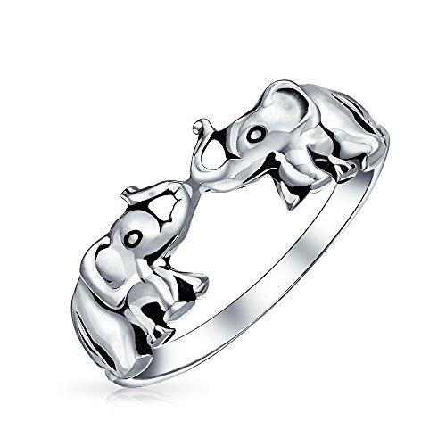 Buena Suerte Zoo Animales Anillo Dos Elefantes Para La Mujer Adolescente Plata Esterlina 925 Oxidada