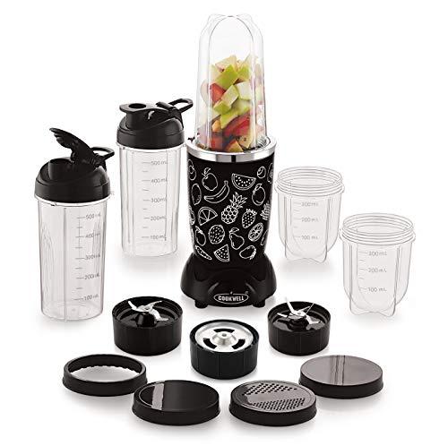 Cookwell Bullet Mixer Grinder, 500W, Pick & Drop Warranty (5 Jars 3 Blades, Black and Fruits)