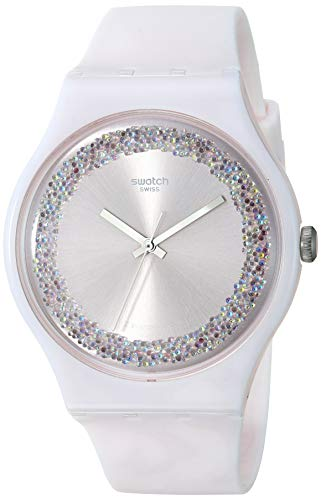Swatch Damen Analog Quarz Uhr mit Silikon Armband SUOP110