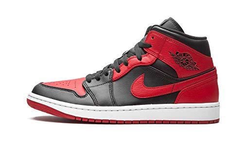 Nike - Zapatillas Air Jordan 1 Mid Banned, 554724 074, de color negro, rojo y blanco, para hombre, color, talla 45 EU
