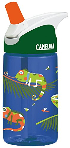 CamelBak Eddy 0.4-Liter Kids Water Bottle  - CamelBak Kids Big Bite Valve - Spill Proof- - Water Bottle For Kids - BPA-Free Water Bottle  12 Ounces, Iguanas, Bottle Only