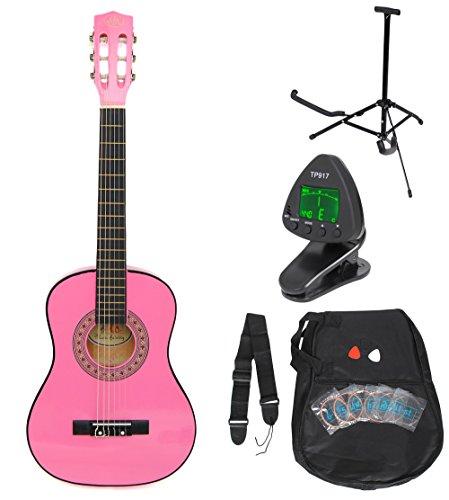 Guitarra 1/4 de concierto para niños de 4 a 7 años. Incluye set de accesorios: funda acolchada, correa, cuerdas, pie para la guitarra y afinador