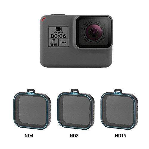 AuyKoo confezione da 3 ND Lens Protector kit set (filtro neutro ND4, ND8, ND16) per GoPro Hero 5, Hero 6 Black, GoPro Hero7 Black