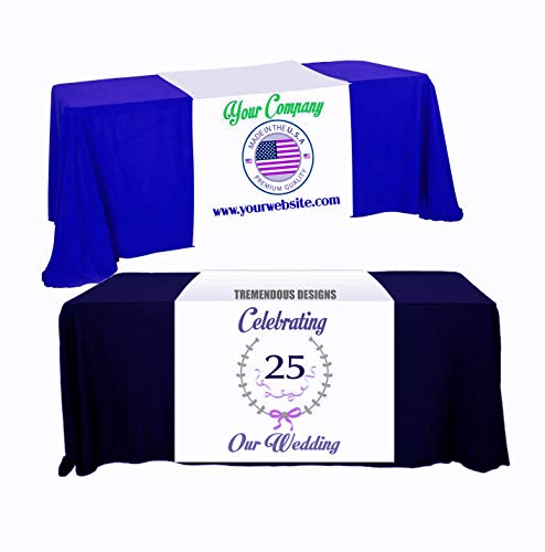 Custom Table Runner 24'x72' Add Your Business Logo or Any Text,...