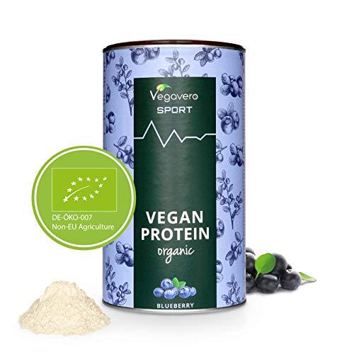 PROTEINE Vegane BIO Vegavero® | Misurino INCLUSO! | Proteine Isolate Pisello e Riso | Senza Aspartame o Sucralosio | Gusto MIRTILLO | 500 g