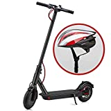 YONOS Electric Kick Scooter, 8.5' Tires 350W Motor, 16 Miles Range & 15.5mph Speed Max, LED Headlight & Display, Portable Folding Easy Carry EBike for Adult, UL Certified, W/Helmet, Black